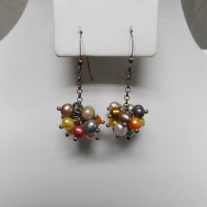 Cluster pierced dangle earrings multi color